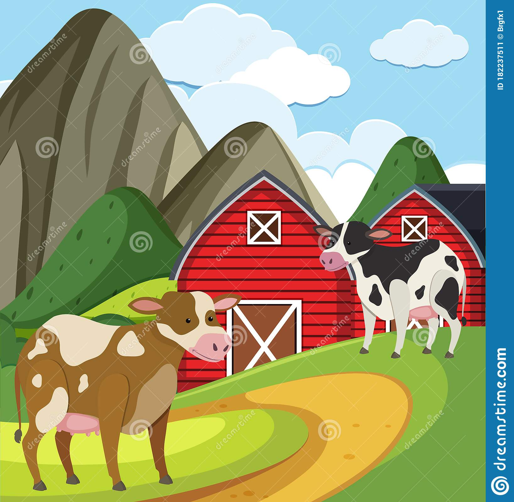 Farm Scene With Two Cows And Red Barns On The Farm Stock ...