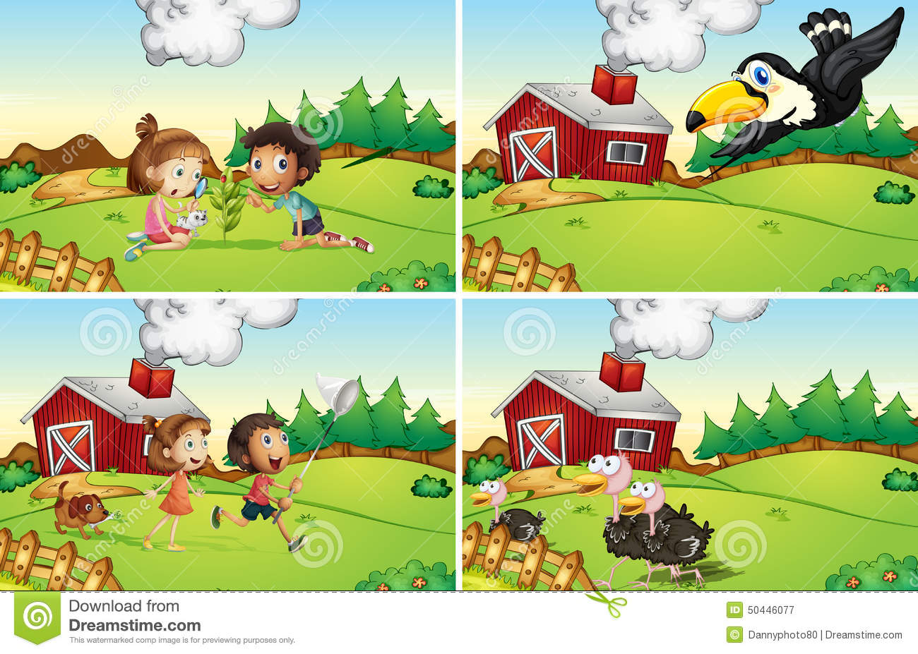 Farm Scenes Stock Illustration - Image: 50446077