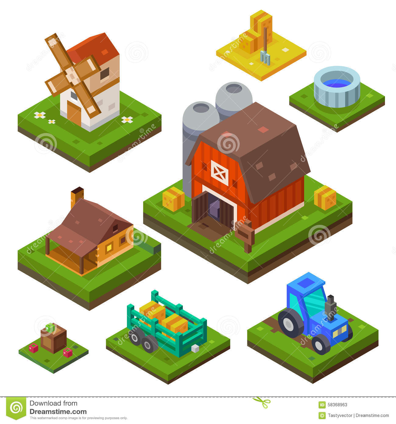 Farm Set In Isometric View Stock Vector Image Of