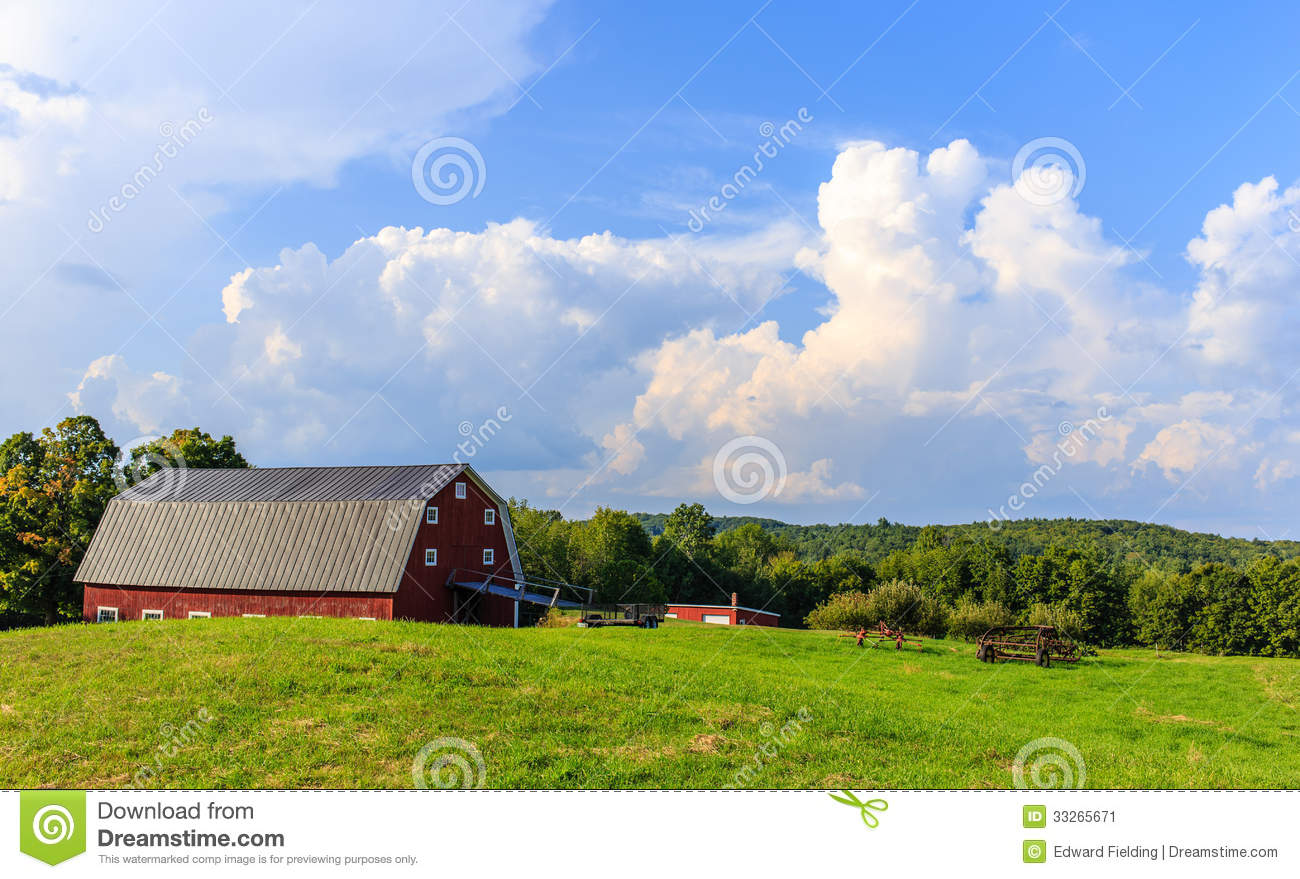 Farm At Sunset Stock Image Image