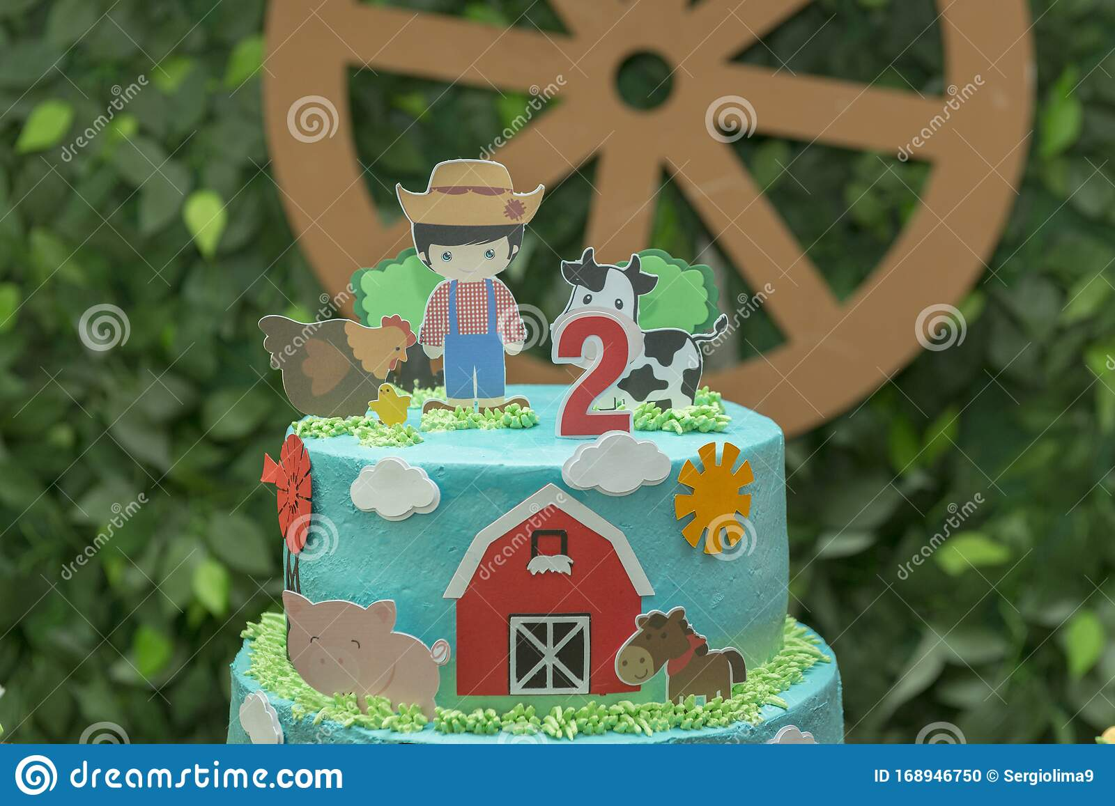 Farm Theme Boy Birthday Cake Beautiful Decorated Cake Farmer Barn Donkey Cow And Chicken Selective Focus 2 Year Anniversary Stock Photo Image Of Animal Cakestand 168946750