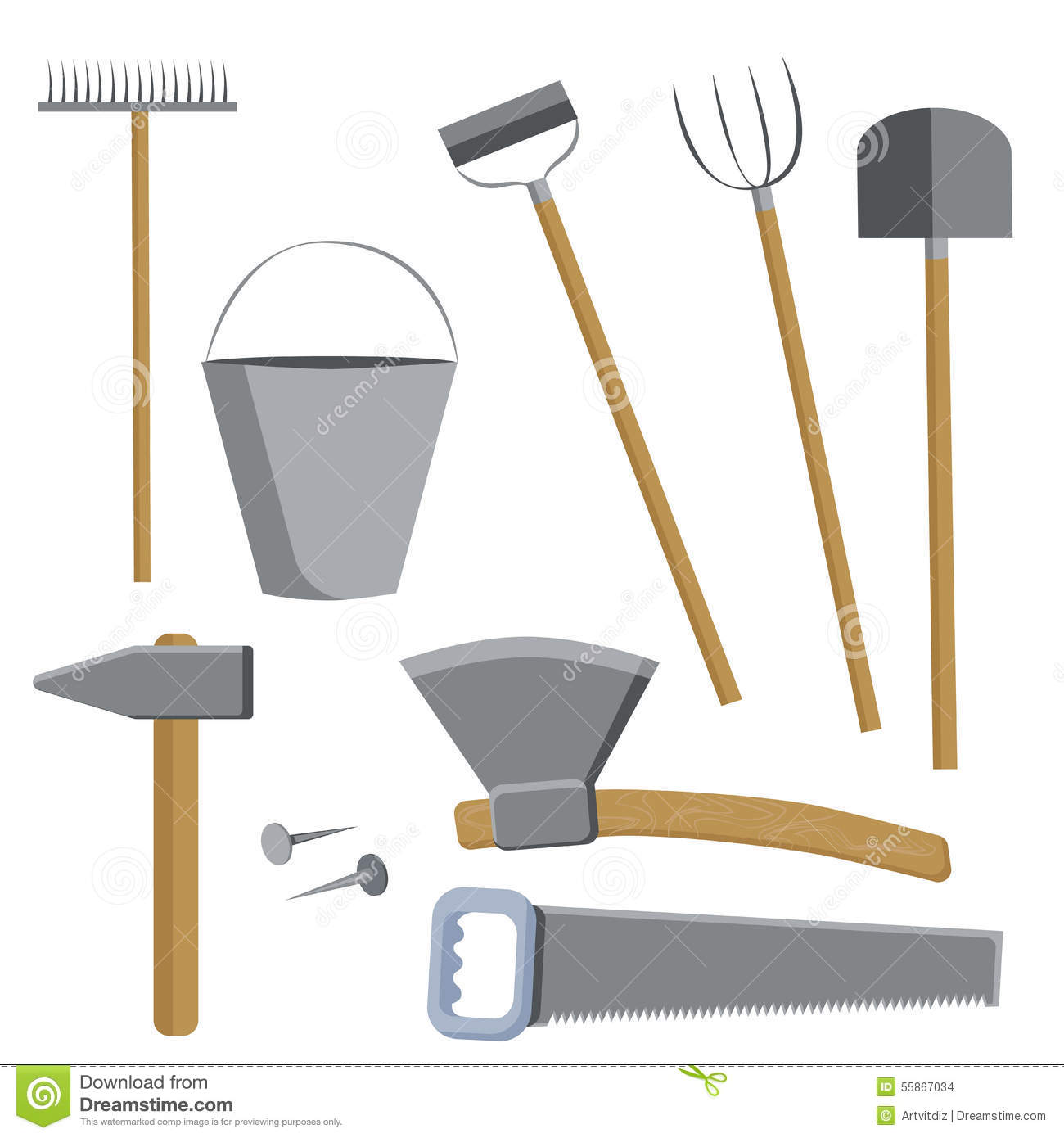 Set of tools for farmers farming in the flat style with a small detail ...