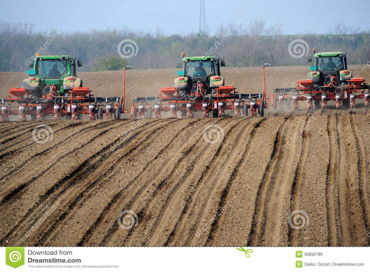 Tractor In Field Planting : Farm tractors planting field royalty free stock images