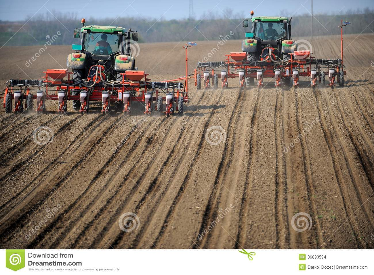 Tractor In Field Planting : Farm tractors planting field stock images image