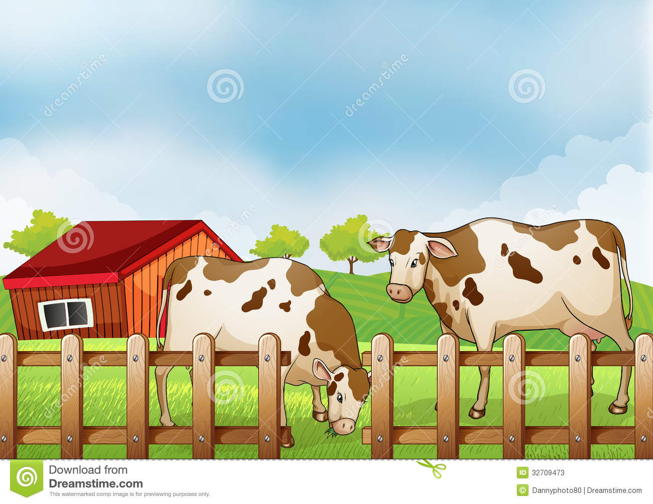 Farm Fence Drawing Illustration With Decor