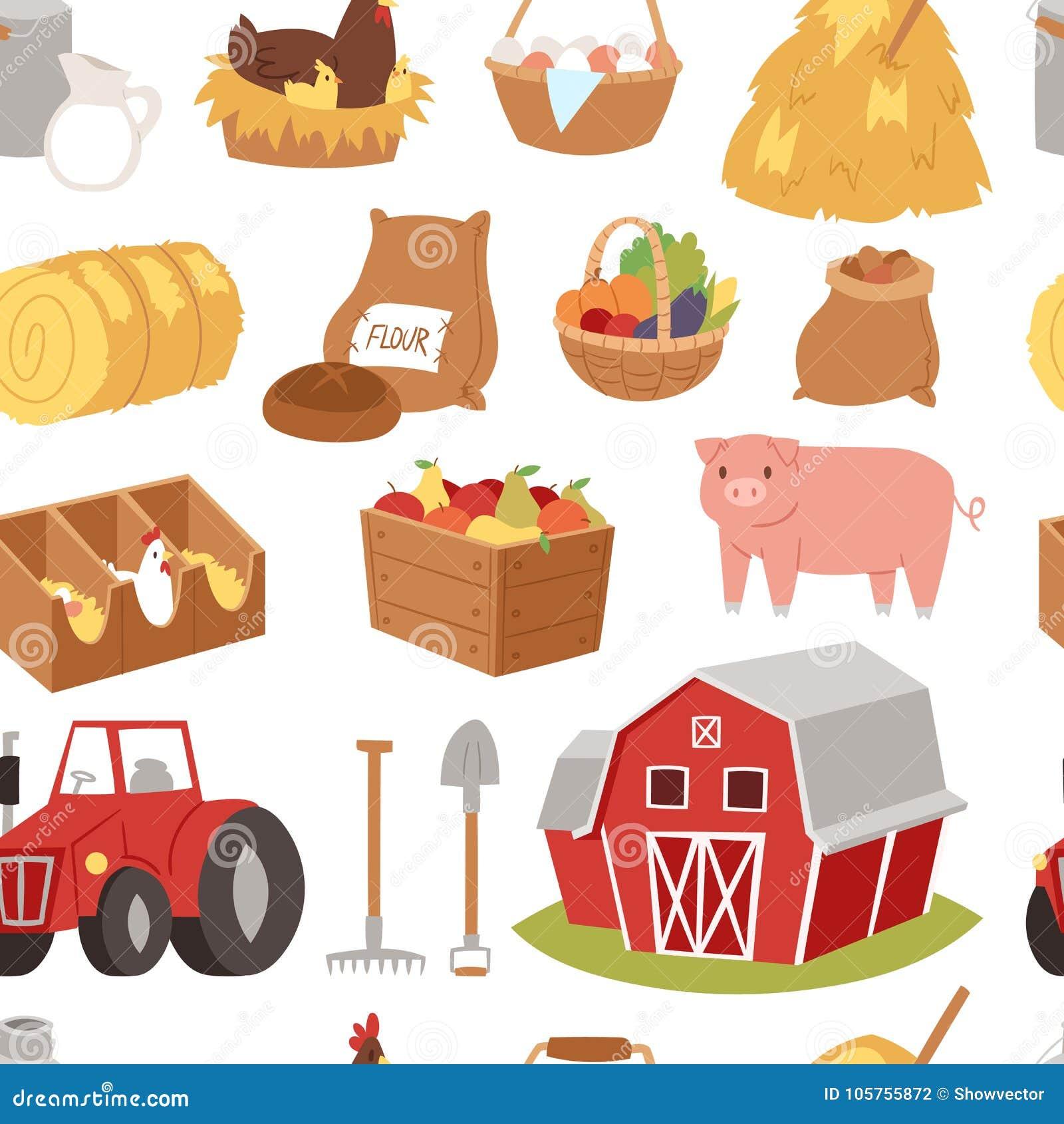 Farm Vector Tools And Symbols House Tractor Cartoon Stock Vector