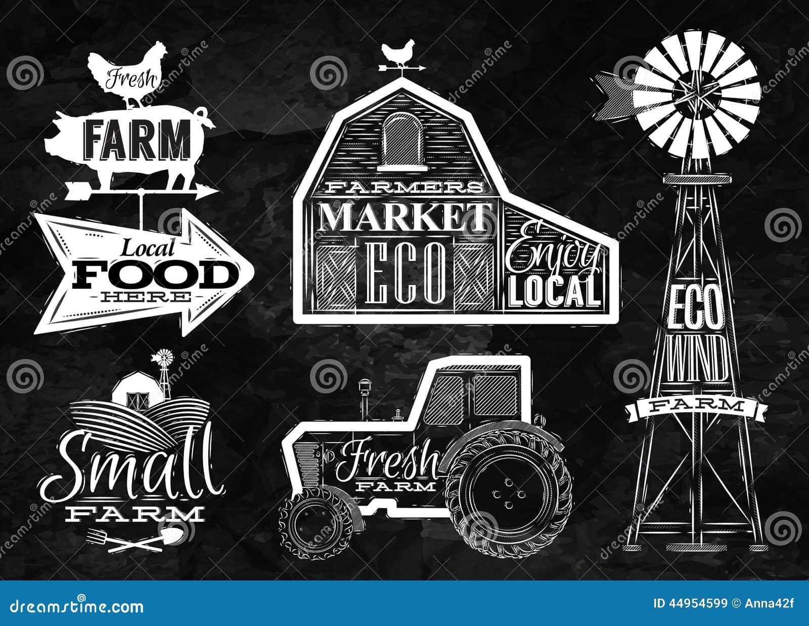 Farm Barn Drawing farm vintage chalk stock vector - image: 44954599