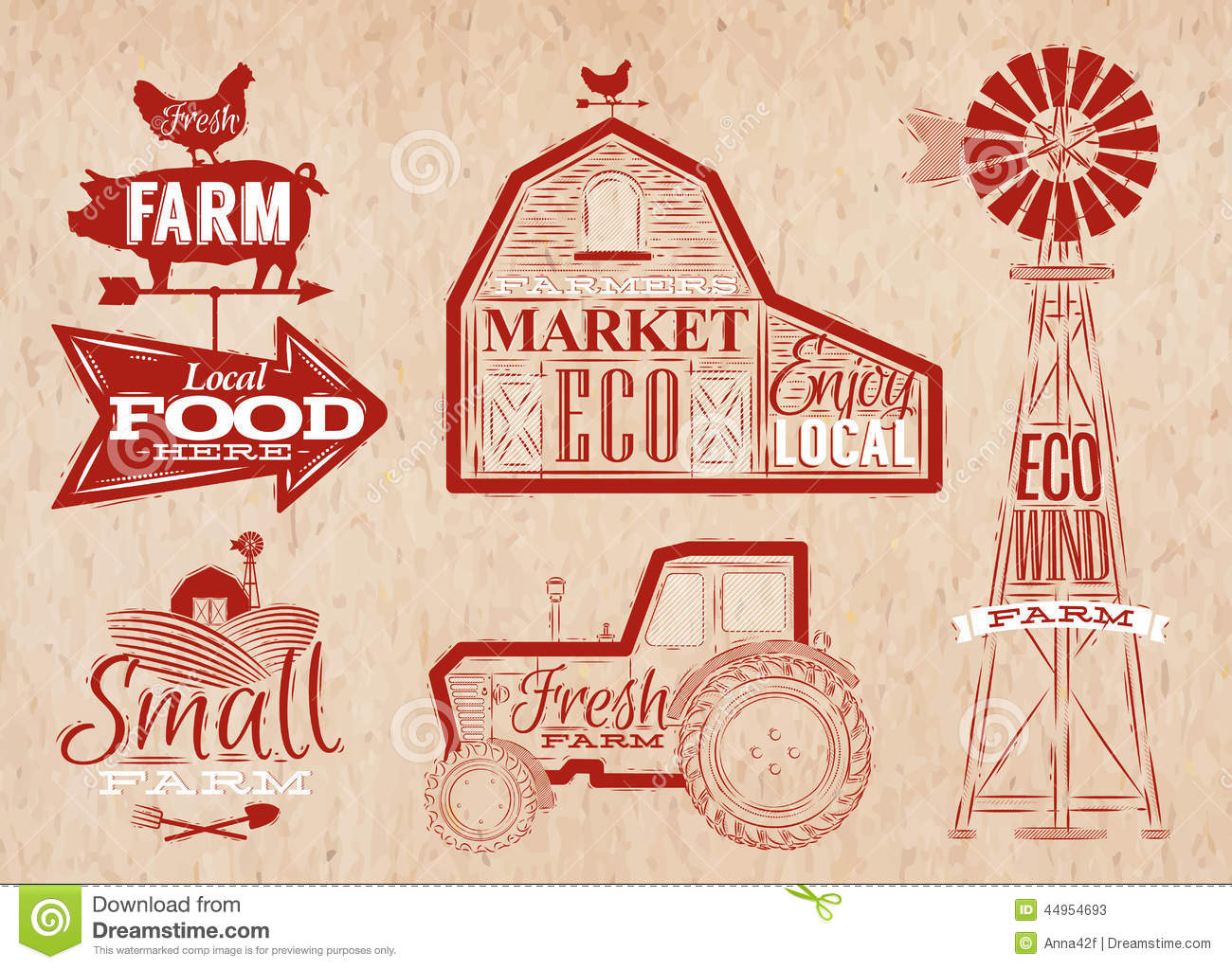 Farm Vintage Red Stock Vector Illustration Of Icon Market