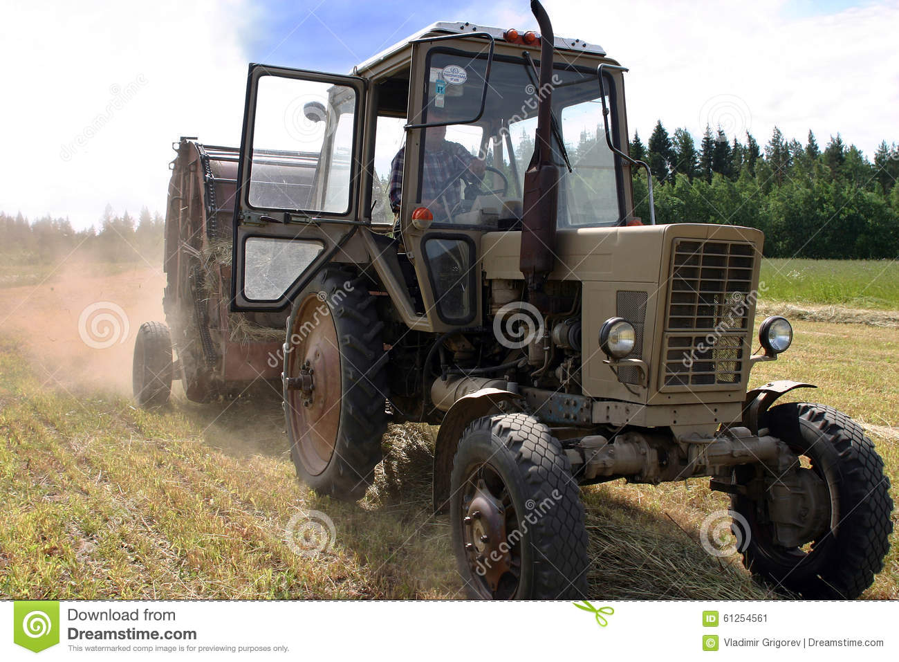 Hay Farmer Tractor Cartoon : Farm tractor and round baler cartoon vector