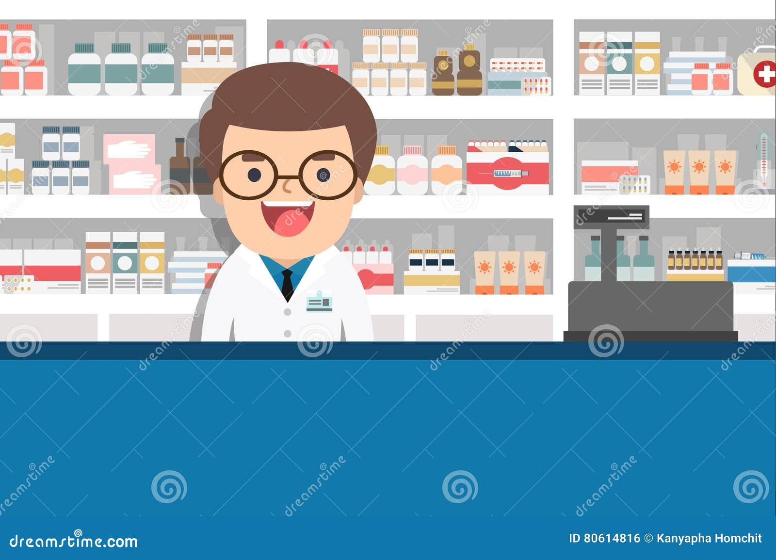 Farmacêutico masculino no contador em uma farmácia