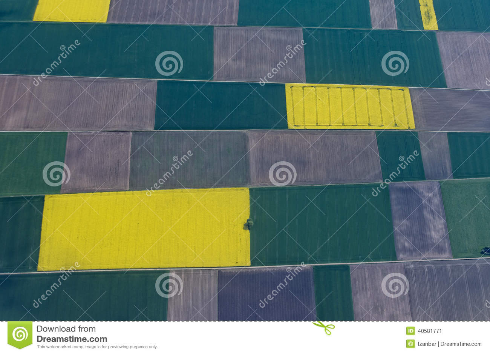 Farmed fields aerial view