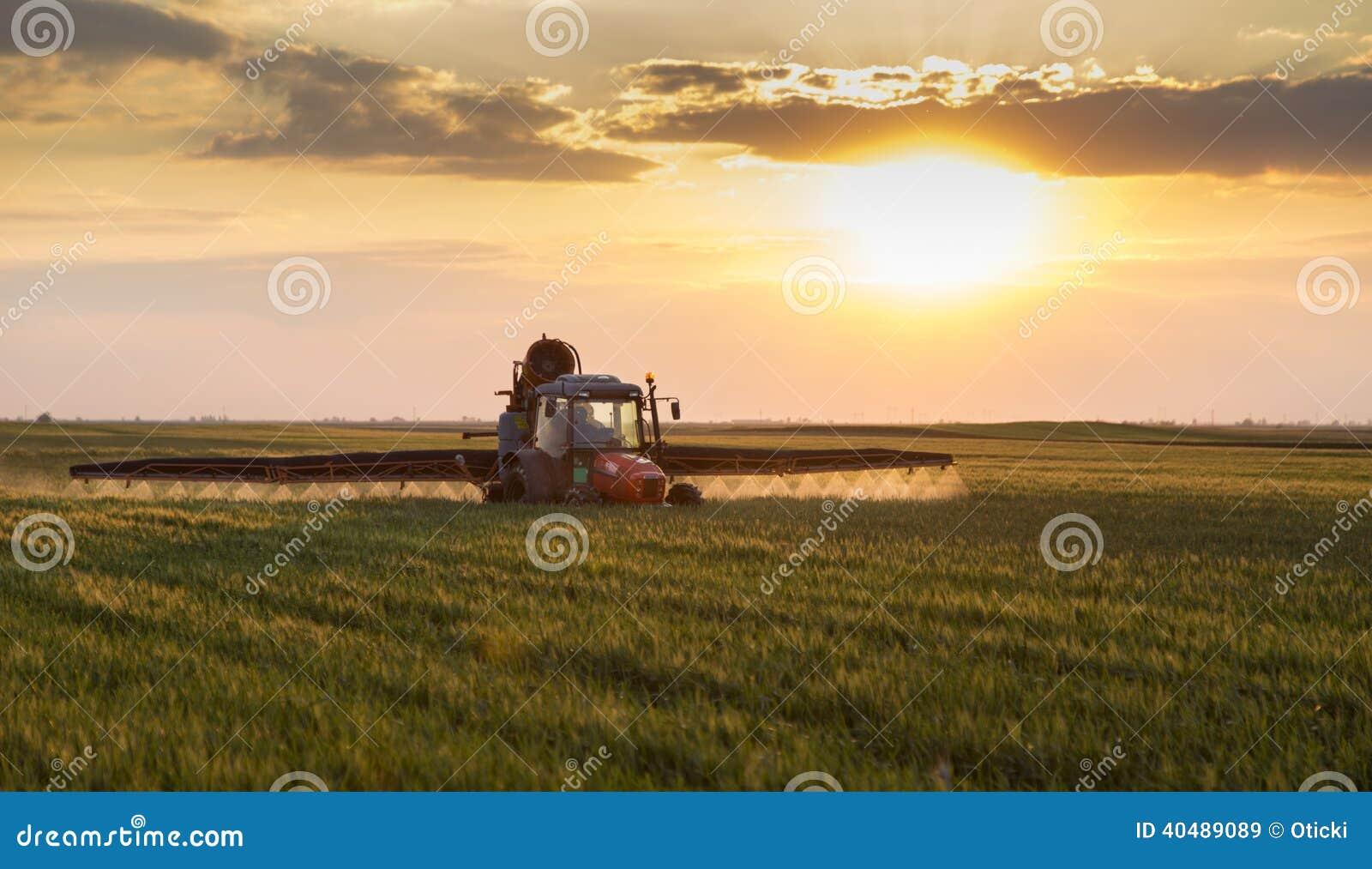 Farmer στις ψεκάζοντας συγκομιδές τρακτέρ