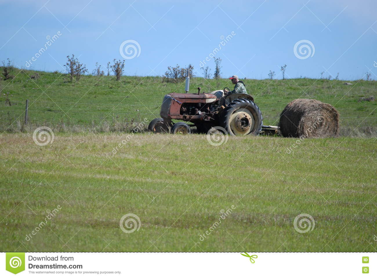 Hay Farmer Tractor Cartoon : Baling hay in field royalty free stock photo