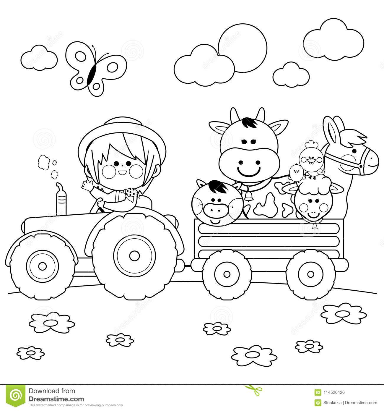 Download Farmer Boy Driving A Tractor And Carrying Farm Animals Black White Coloring Book