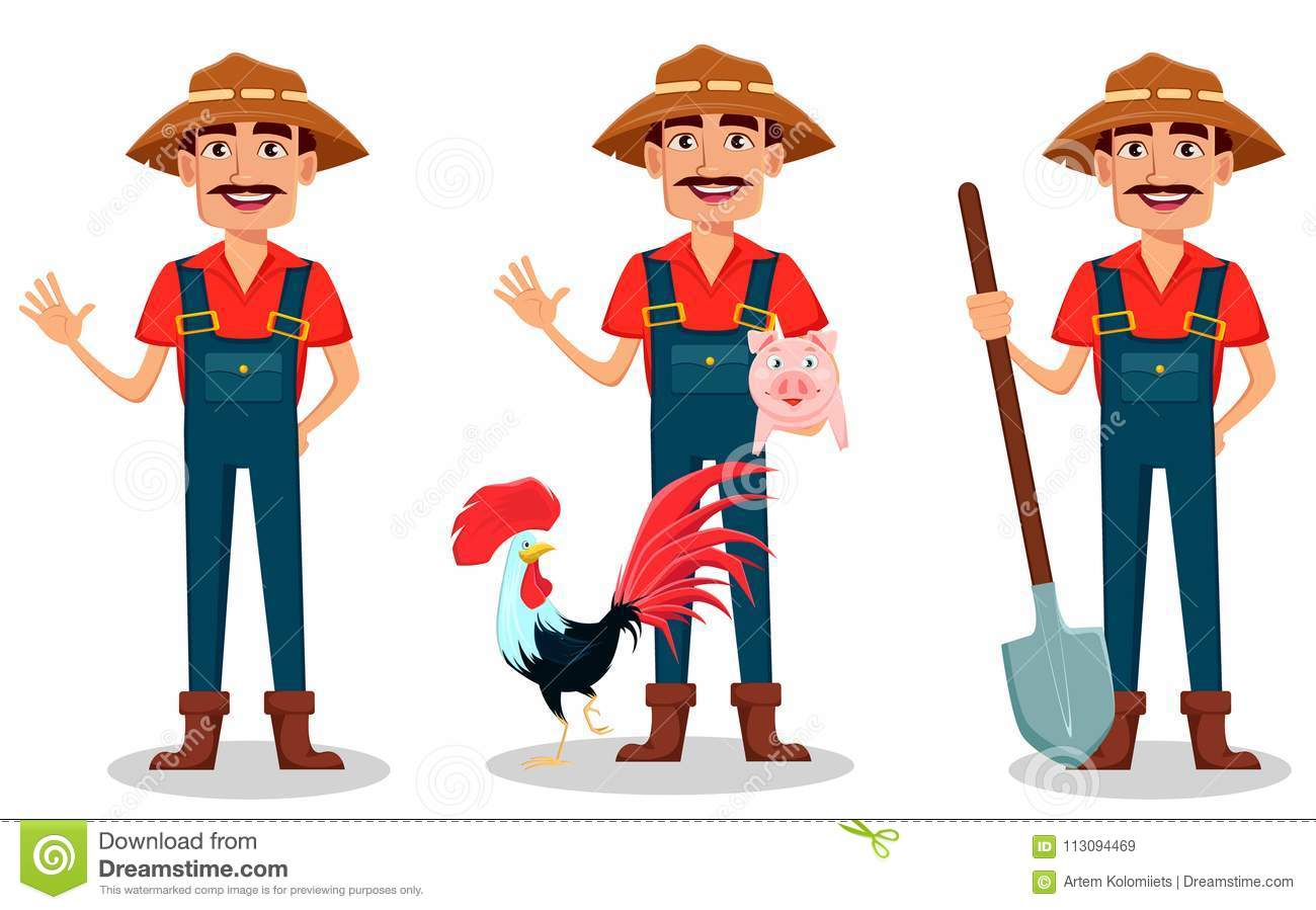 Farmer cartoon character set. Cheerful gardener waves hand, stands with farm animals and holds shovel.