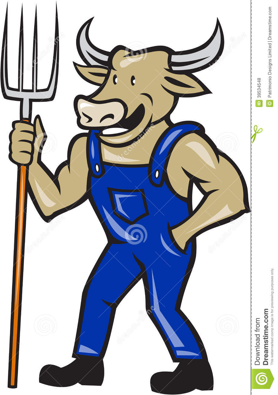 Illustration of farmer cow bull facing front laughing holding a pitch ...
