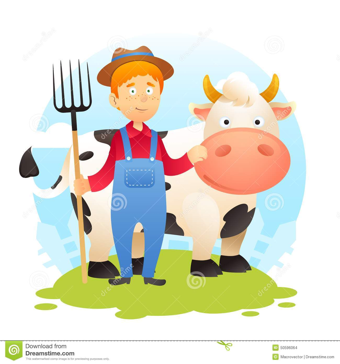Farmer With Cow Stock Vector Illustration Of Flyer