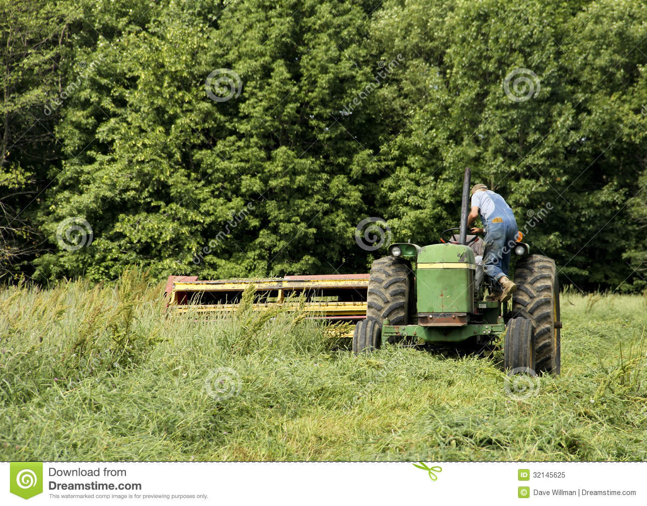 Hay Farmer Tractor Cartoon : Farmer cutting hay royalty free stock photo image