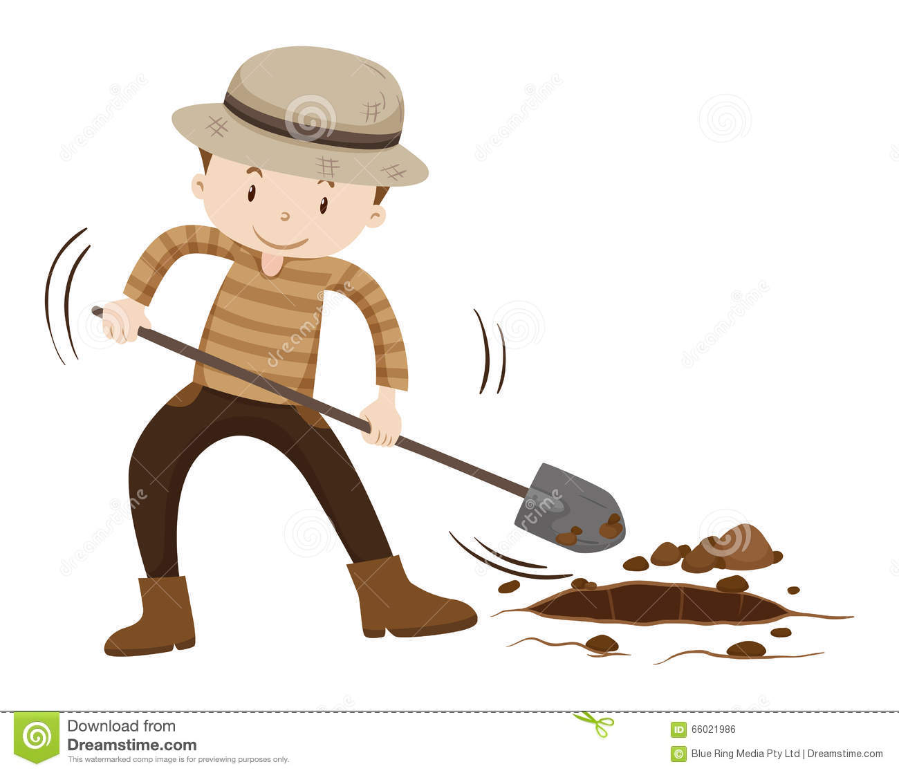 Farmer digging hold on the ground stock vector for Digging ground dream meaning