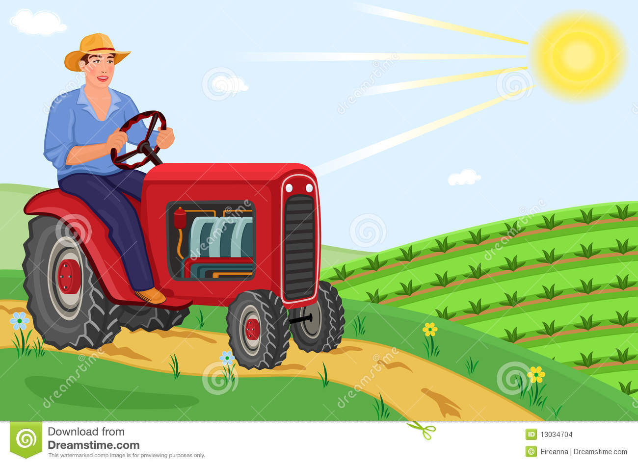 Farmer On Tractor : Farmer driving his tractor on the fields stock vector