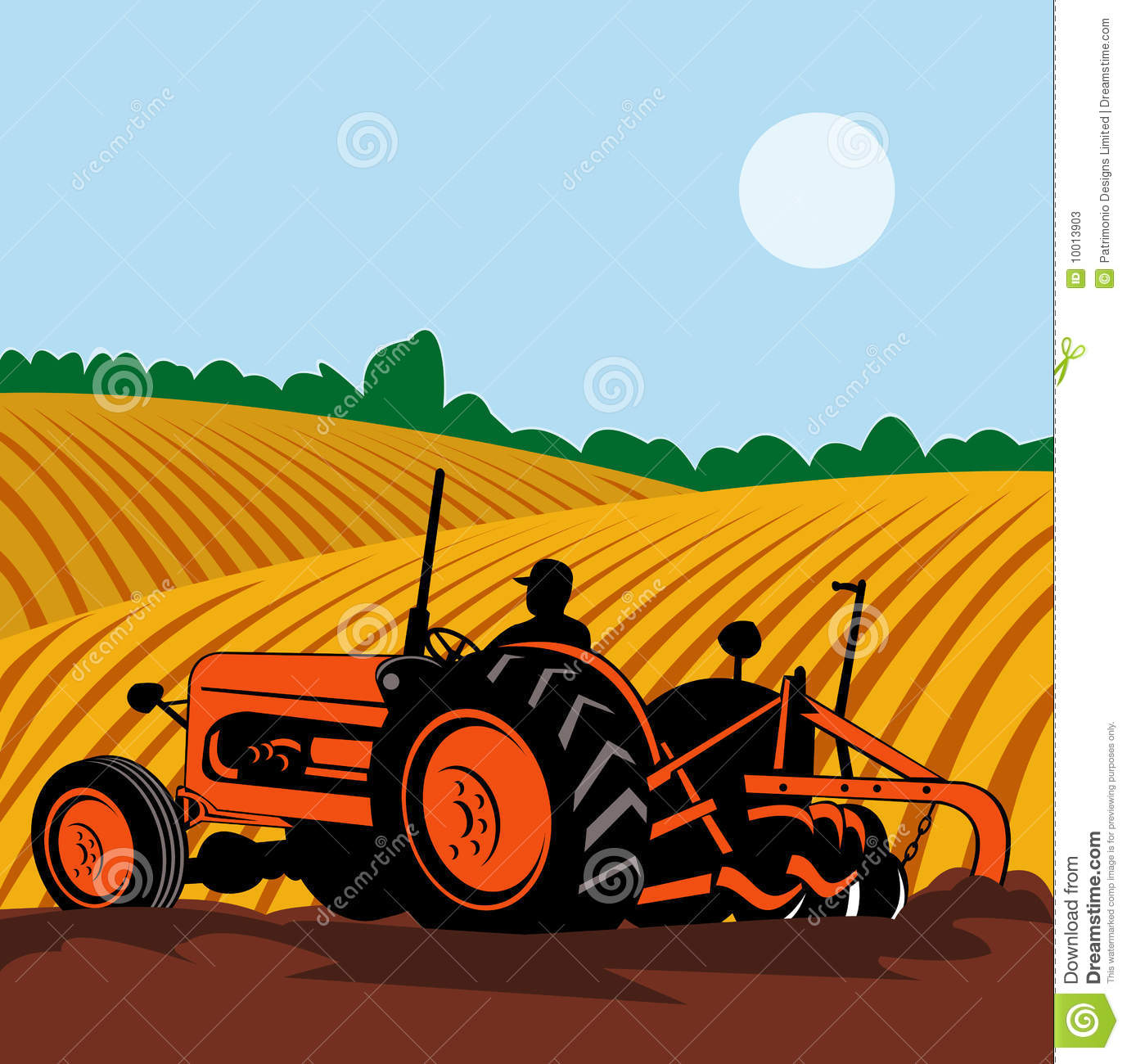 Old Tractor Clip Art : Farmer driving vintage tractor stock illustration image