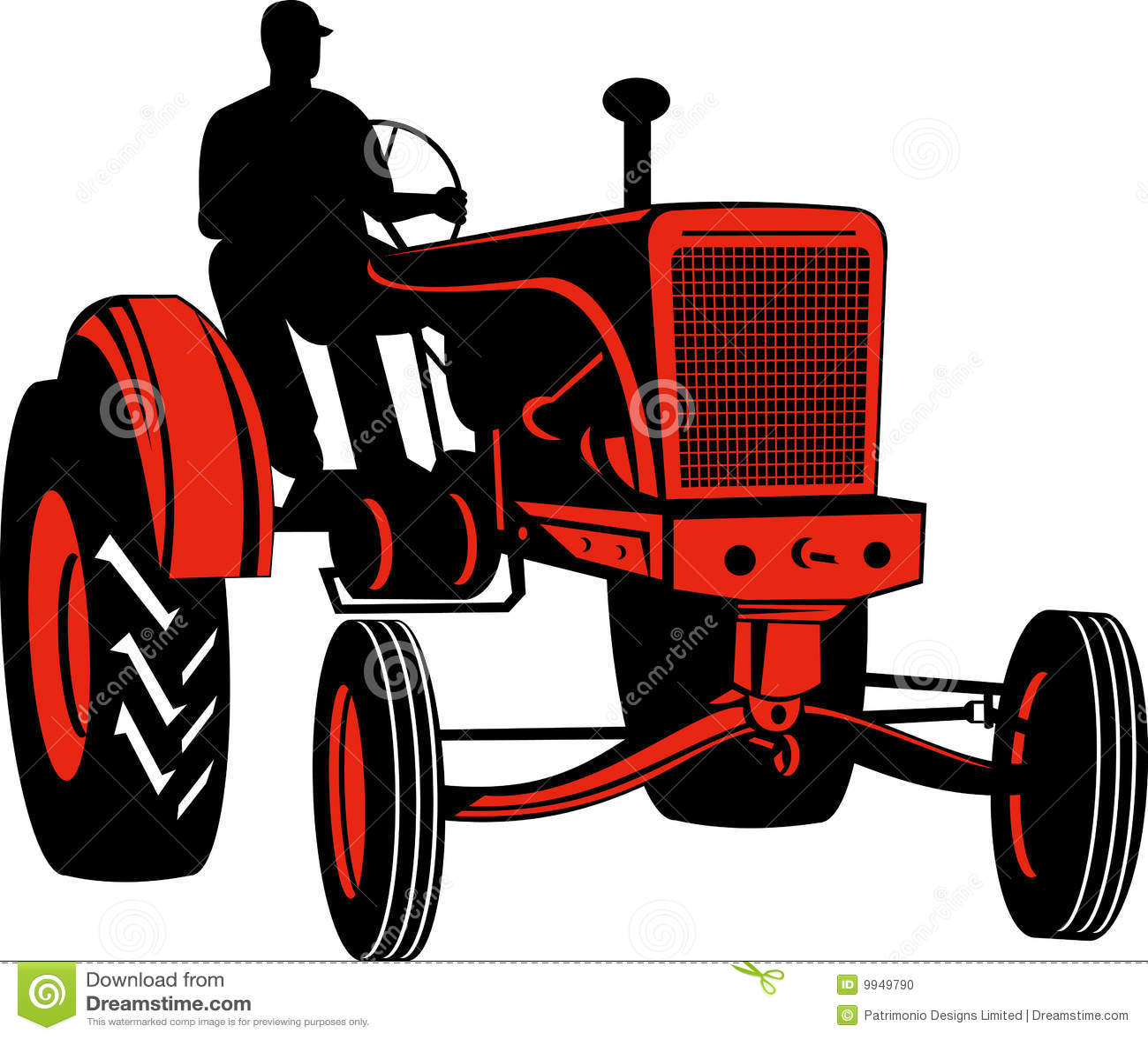 Vintage Tractor Cartoon : Farmer driving vintage tractor stock photo image