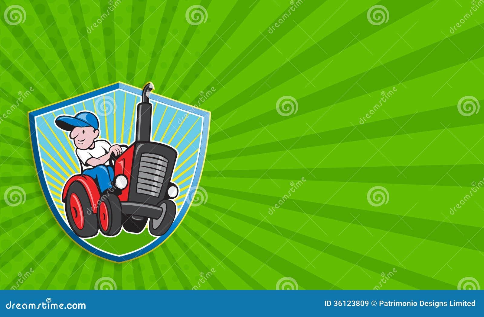 Farmer Driving Vintage Tractor Cartoon Stock Illustration