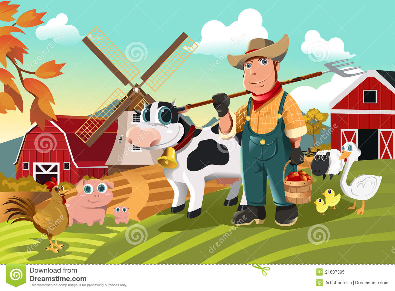 Farmer At The Farm With Animals Royalty Free Stock Photo