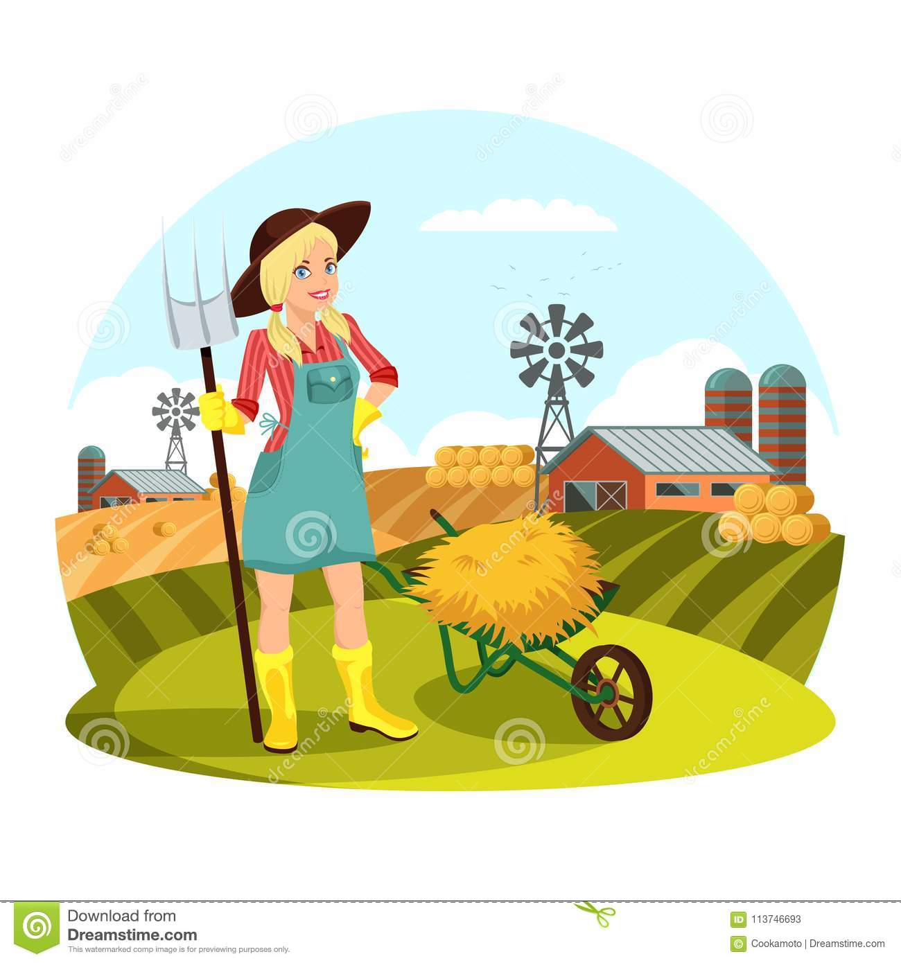 Farmer Female With Pitchfork Gathering Hay In Front Of Field Barns And Round Bale Woman Work At Village Girl Agrarian