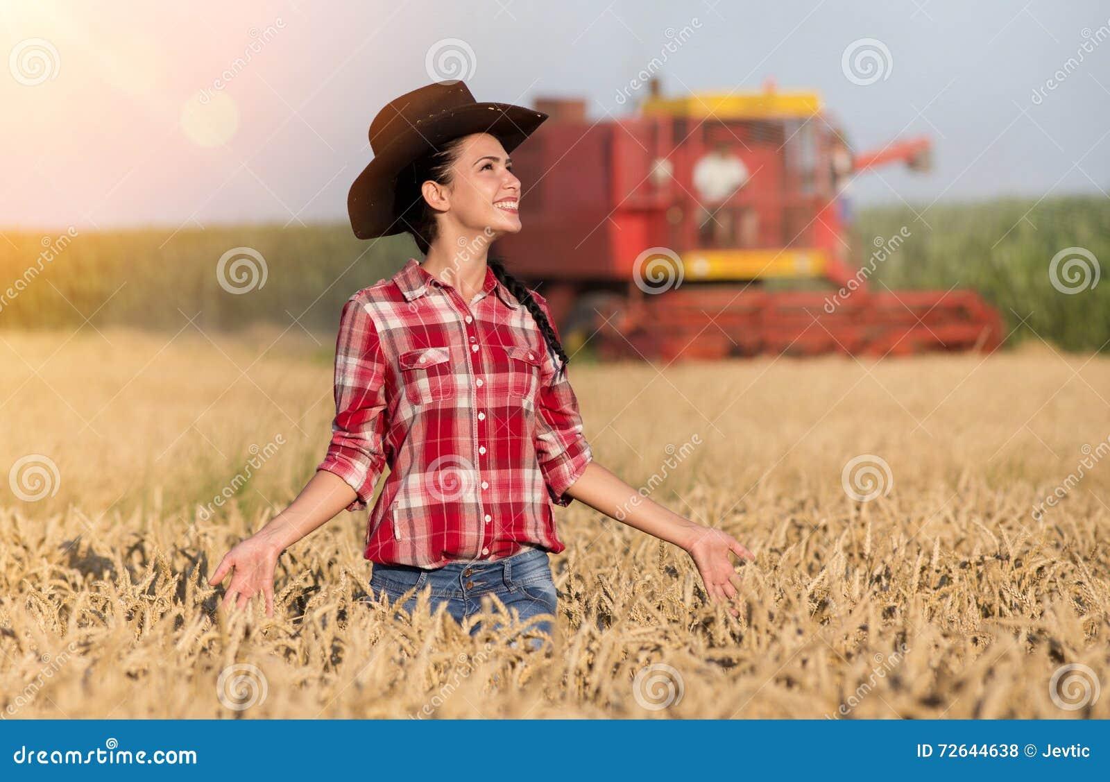 Happy Farmer Girl In Wheat Field Royalty-Free Stock Image ...