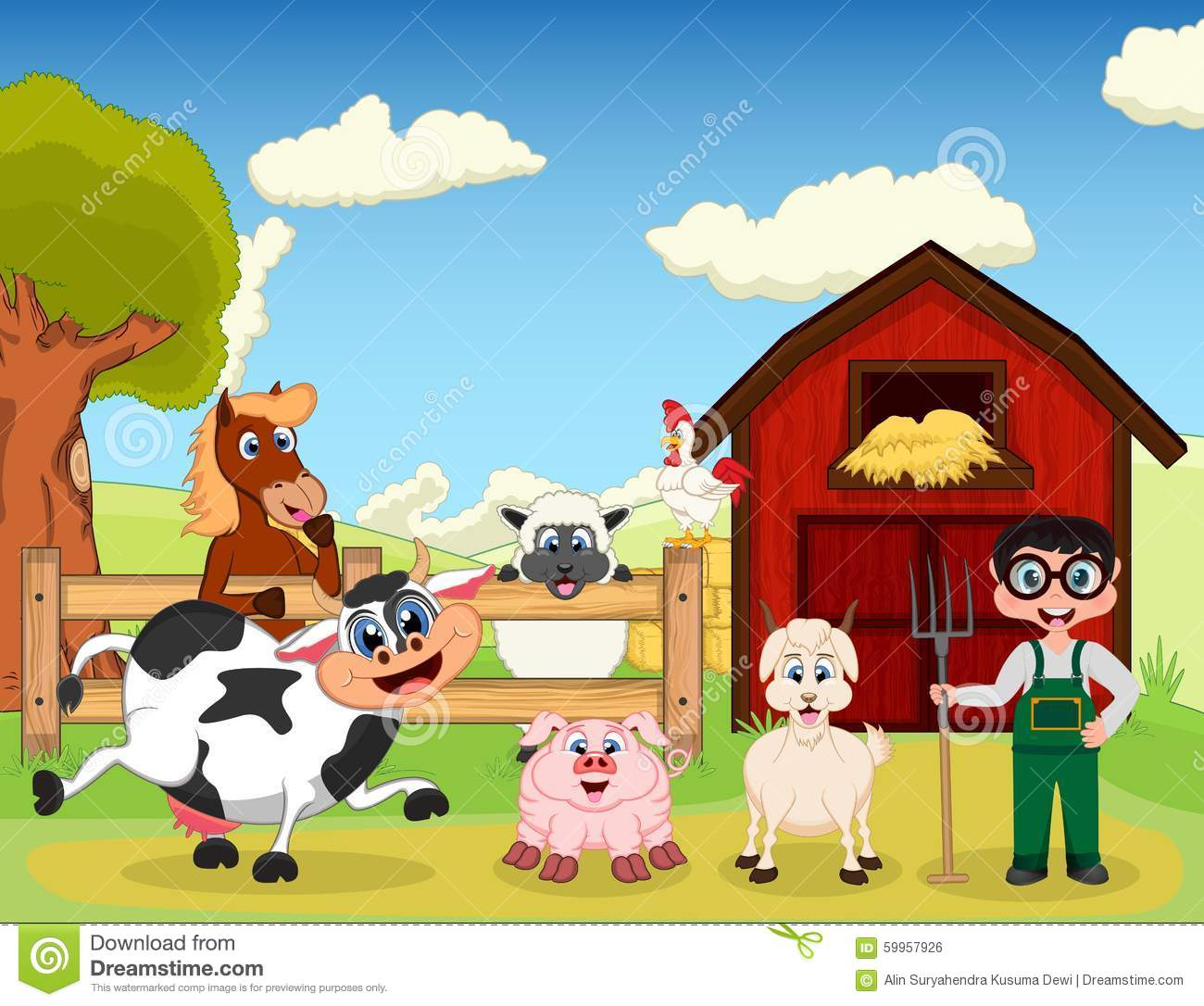 Farmer Goat Pig Horse Goat Sheep Chicken And Cow The Farm Cartoon Stock Vector Image