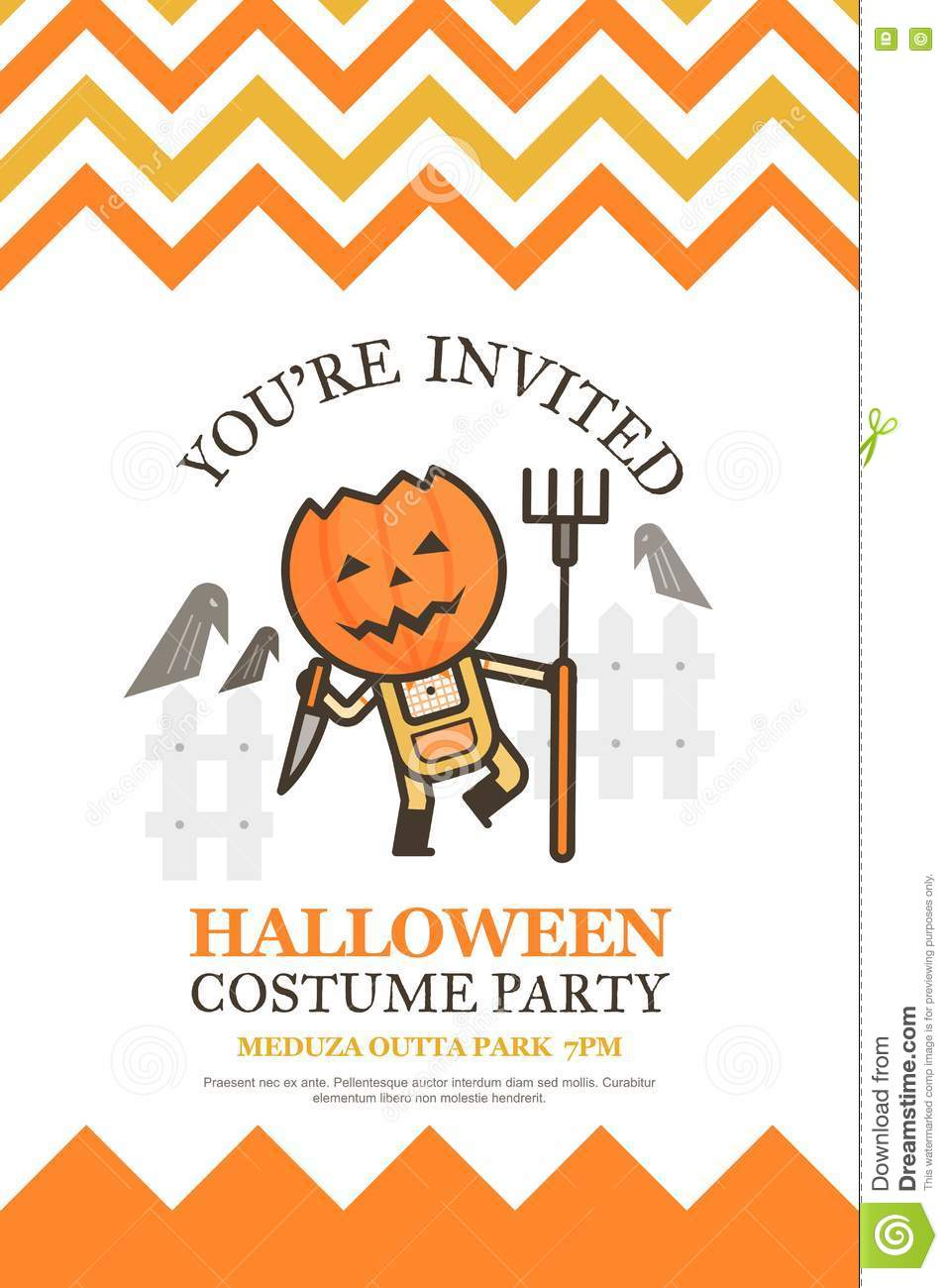 Farmer halloween invitation card for costume night party cute ki download comp stopboris Image collections