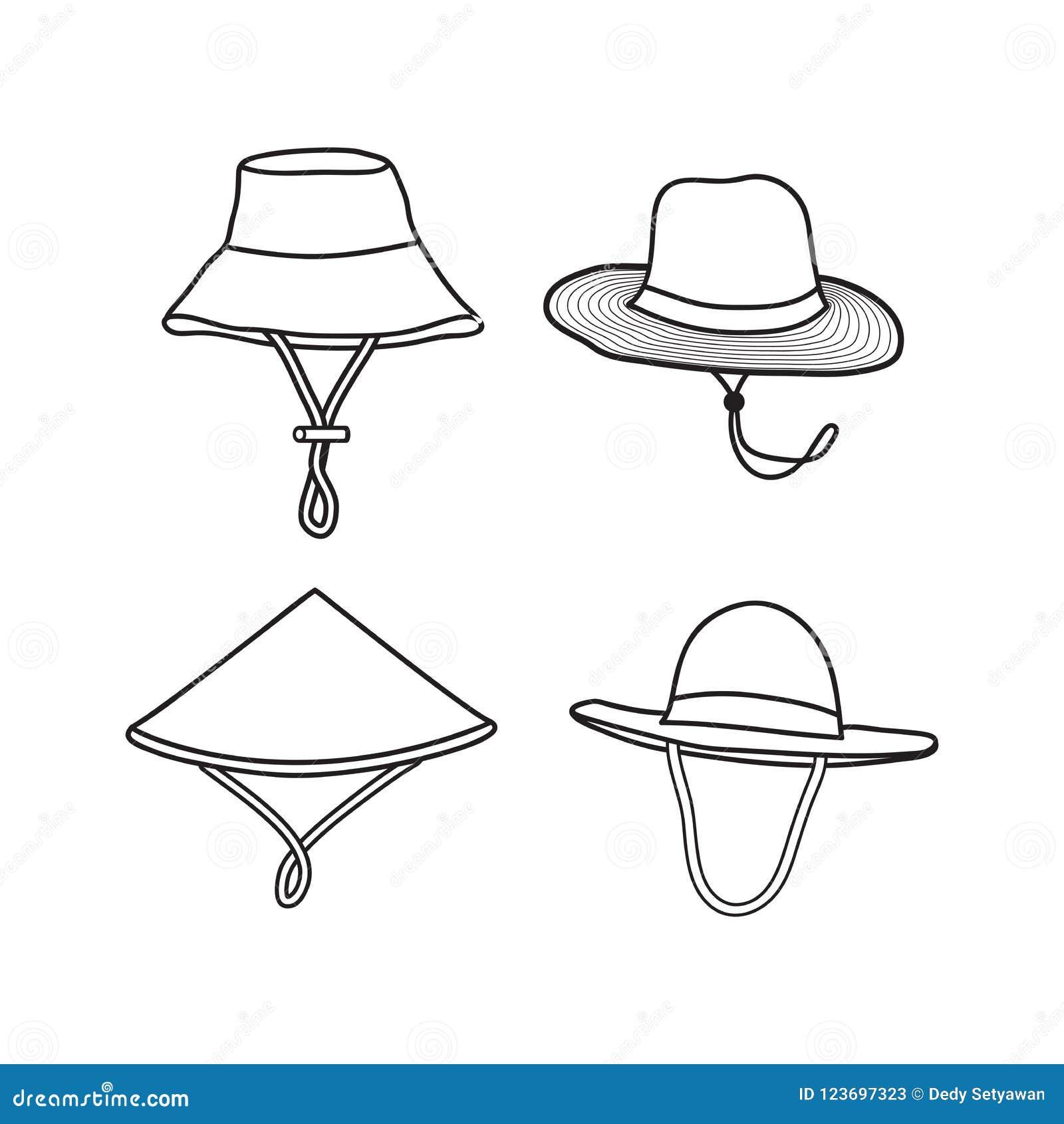 Farmer Hat Vector Illustration Outline Design Isolated White Background