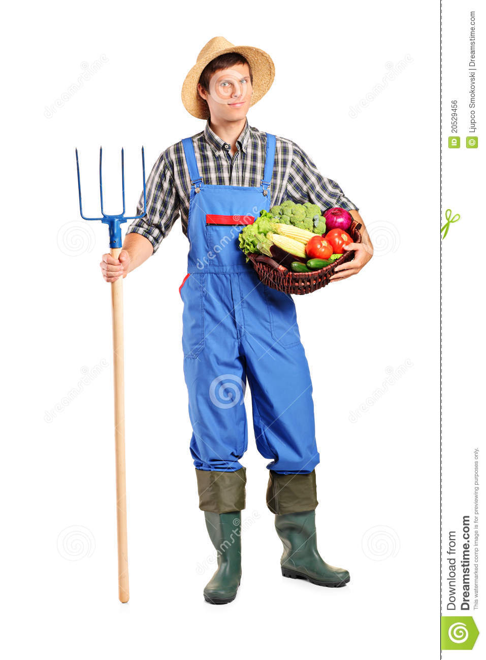 Farmer holding a pitchfork and bucket