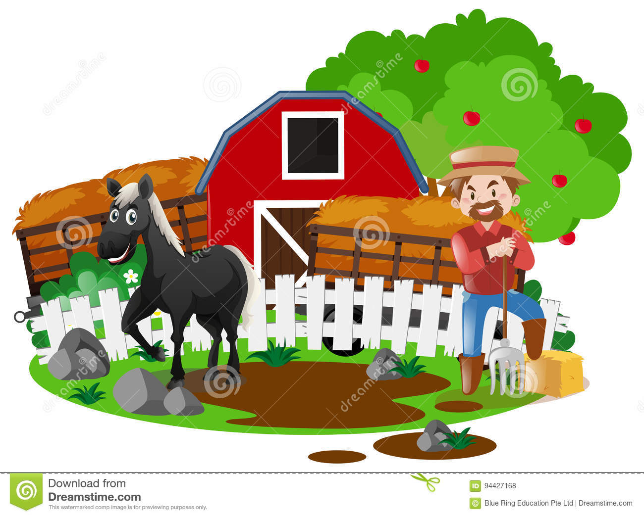 Farmer And Horse In The Farm Stock Vector Illustration Of Scenery Yard 94427168