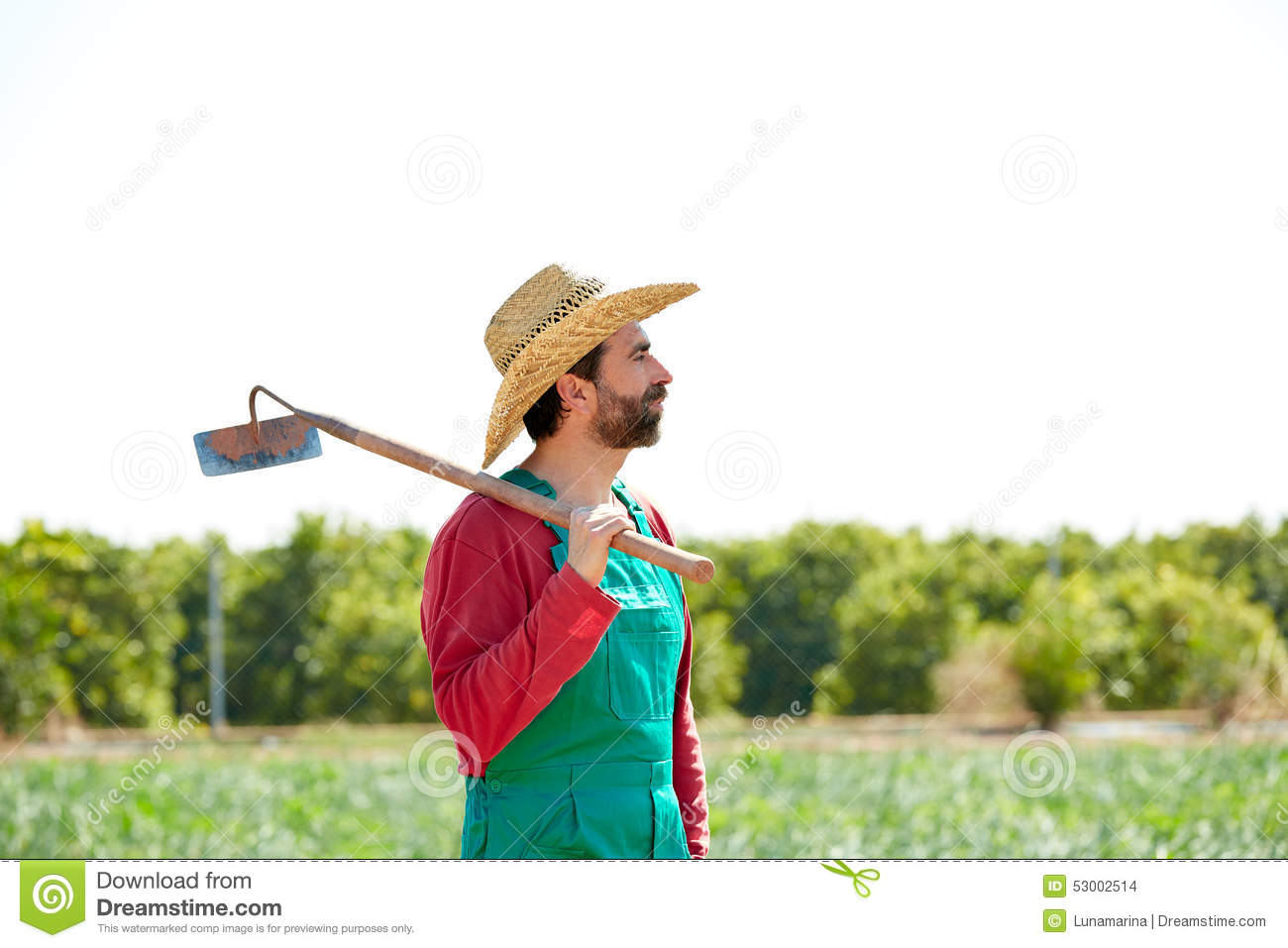 a man with a hoe