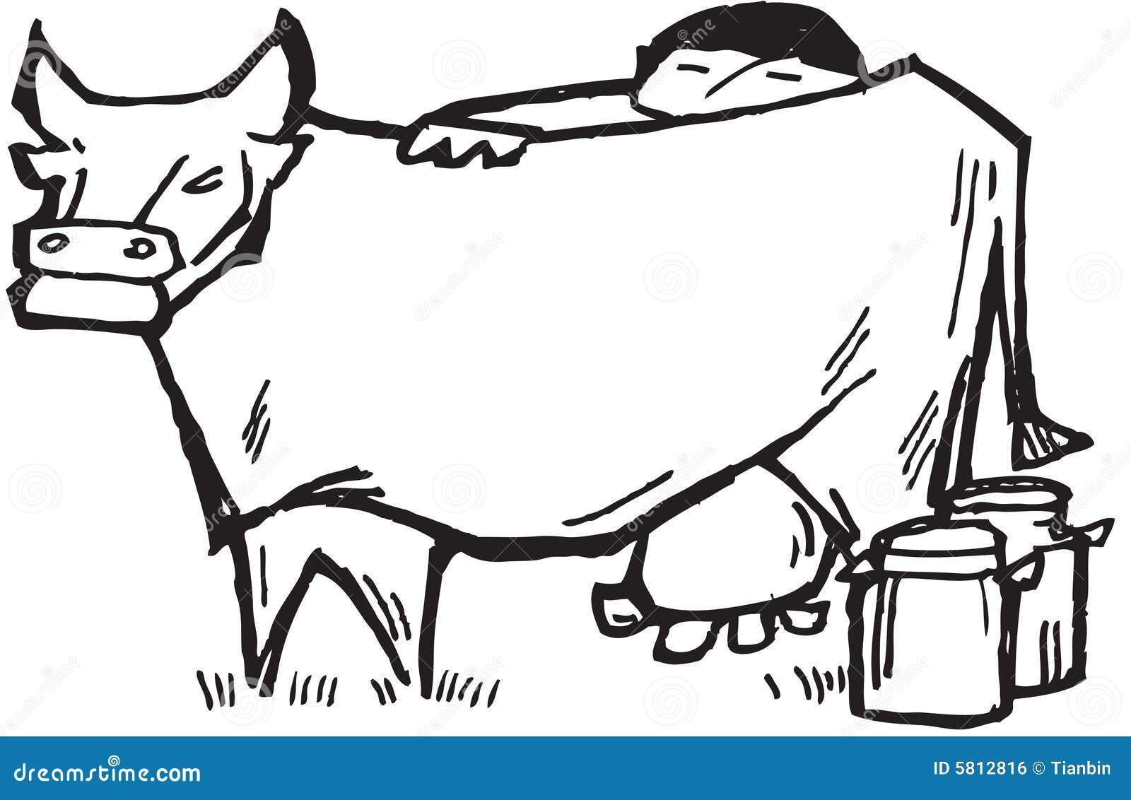 Farmer Milking Cow Stock Vector Illustration Of Finger