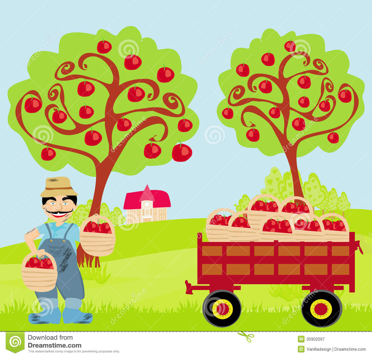 farmer in the orchard stock vector illustration of green