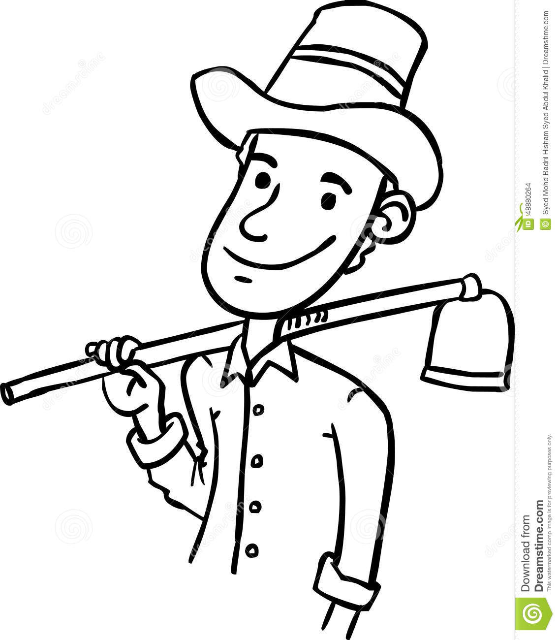 farmer with a pitch hoe in black and white line stroke.