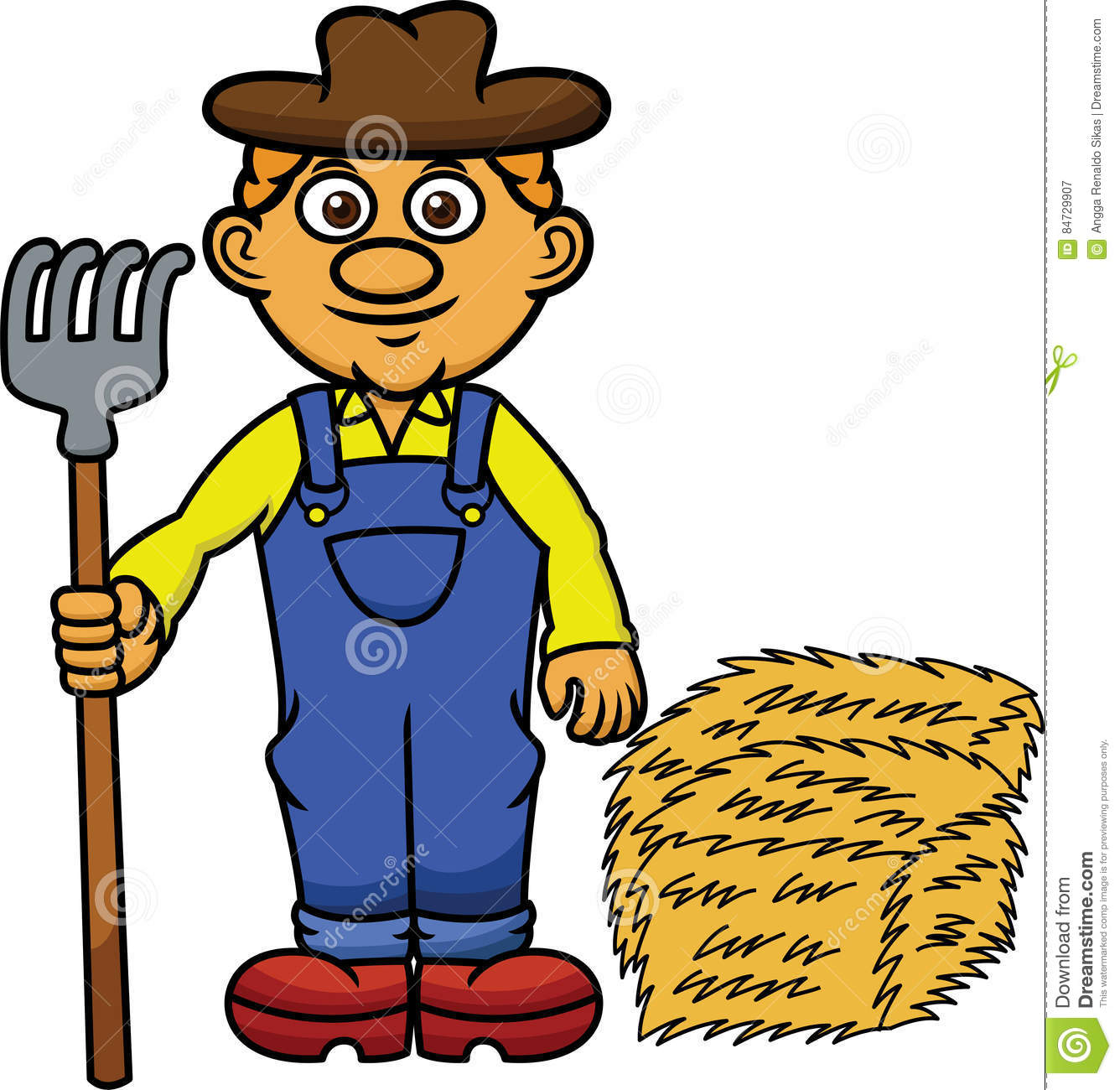 Hay Farmer Tractor Cartoon : Farmer with pitchfork and hay cartoon stock vector