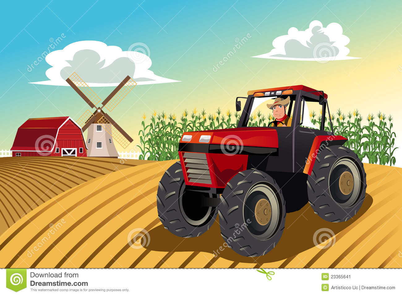 Farmer Riding A Tractor Stock Image - Image: 23365641