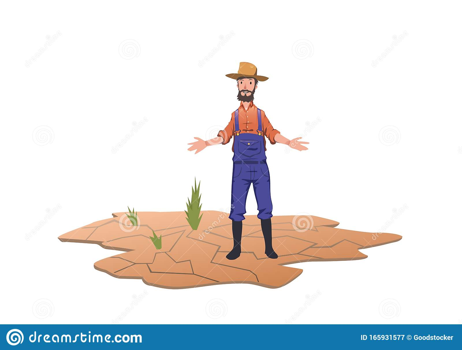 A Farmer Standing Next To Green Sprouts On A Dry Field Concept Of Drought Global Warming Lack Of Water Irrigation Stock Vector Illustration Of Damage Isolated 165931577