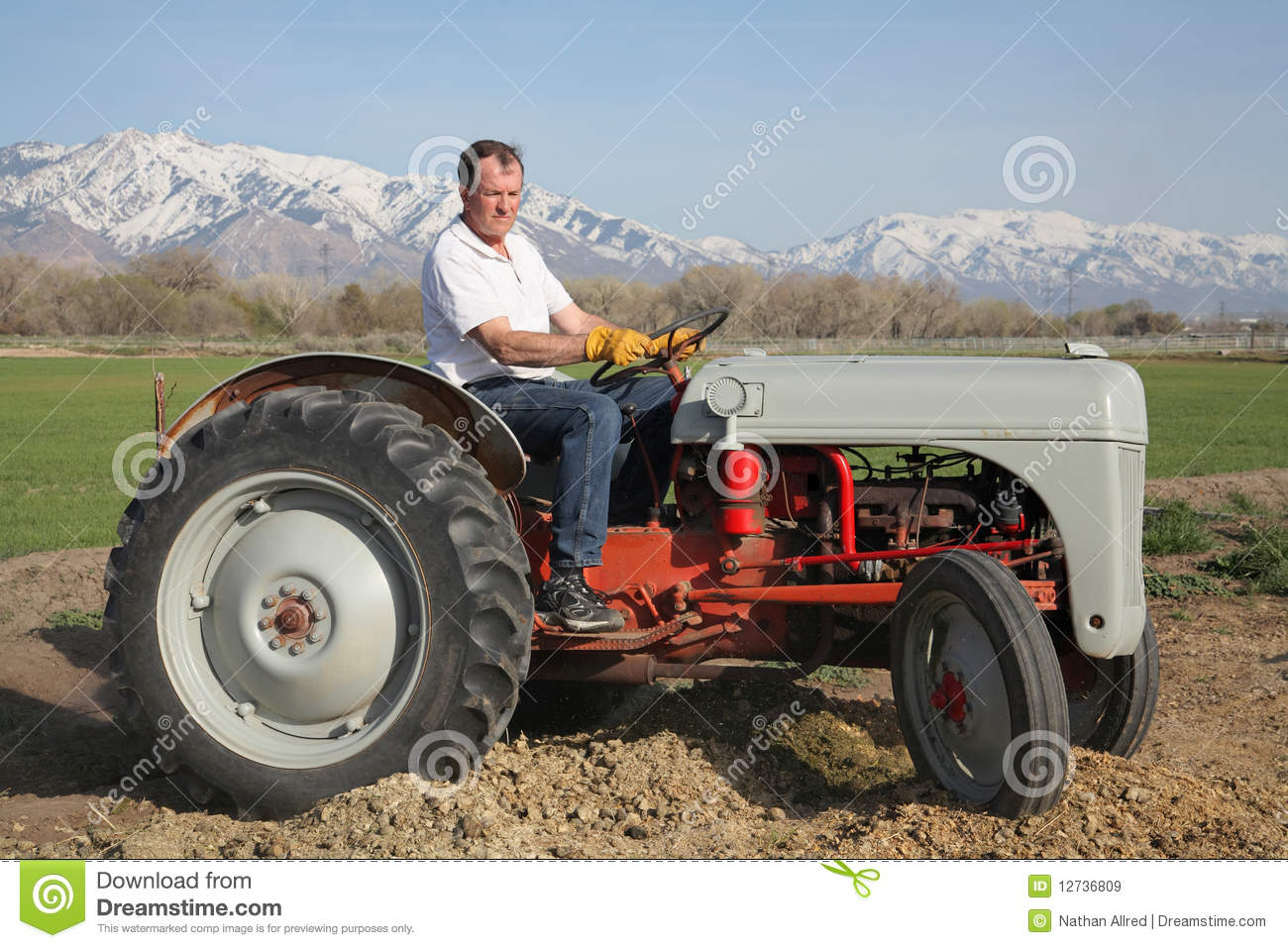 Farmer On Tractor Royalty Free Stock Images Image 12736809