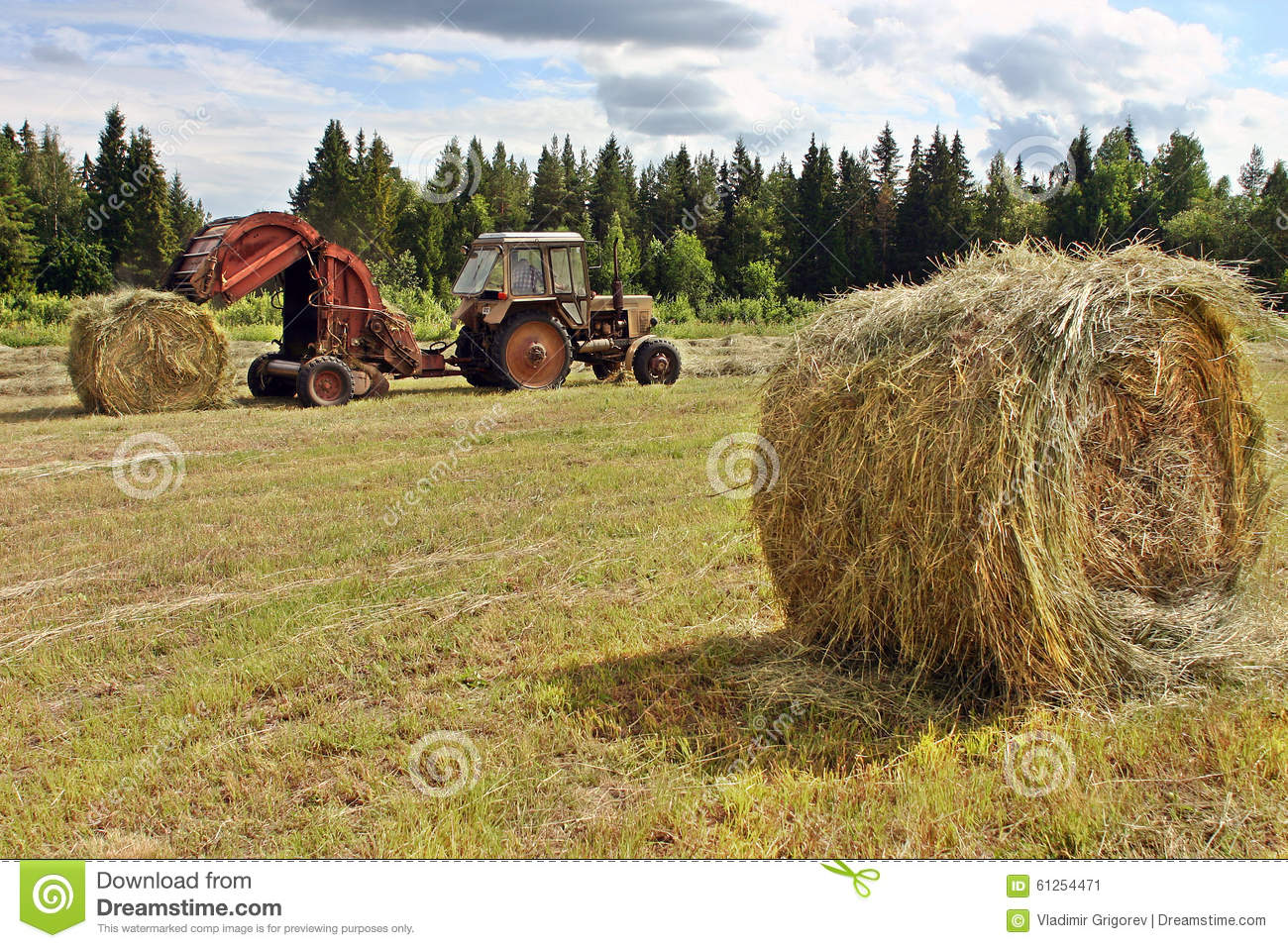 Hay Farmer Tractor Cartoon : Farmer tractor with baler spitting out round rolls of hay