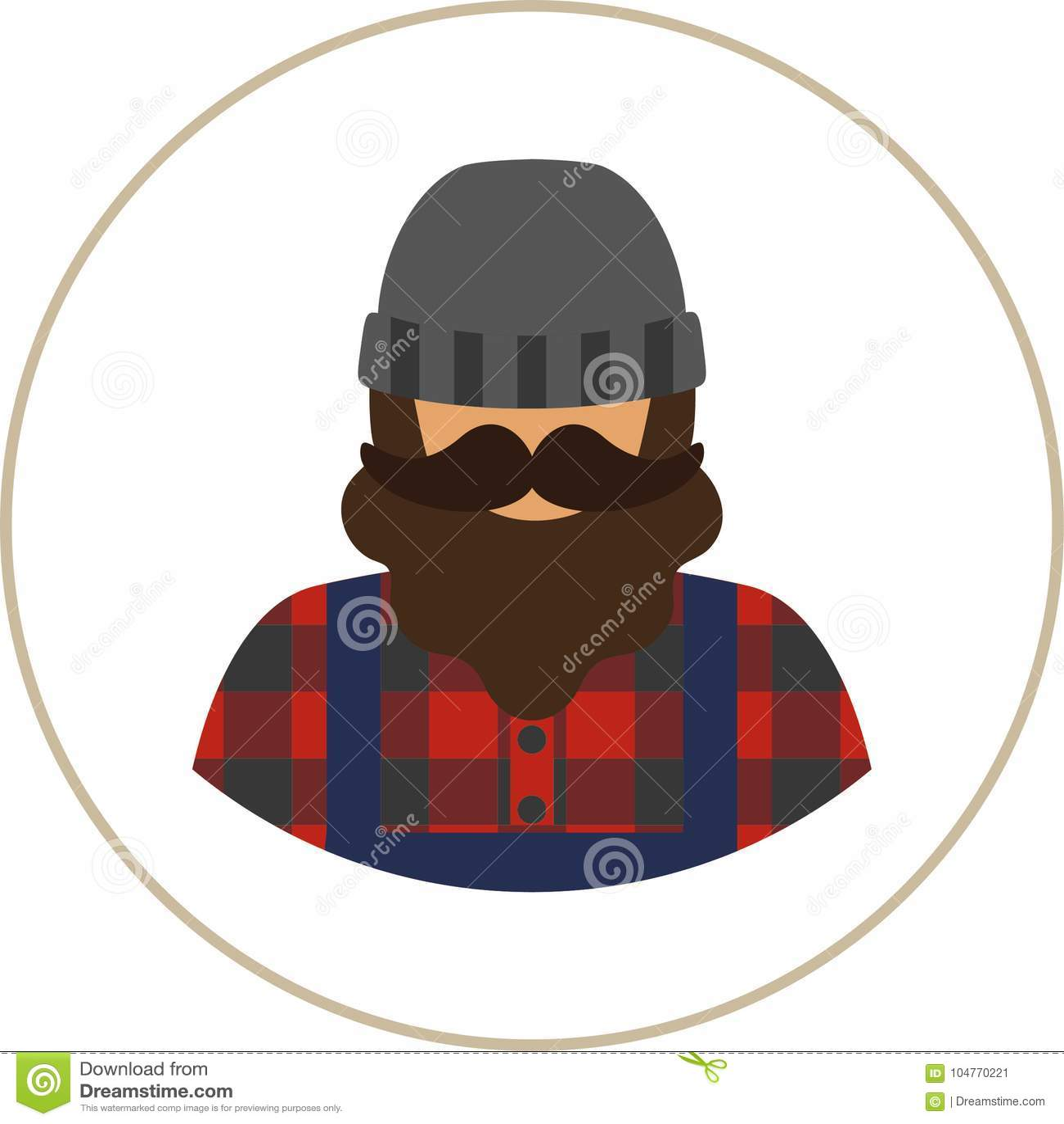 0c5e51e6fce Farmer worker flat icon - a man with a mustache a beard wearing an in a  plaid shirt