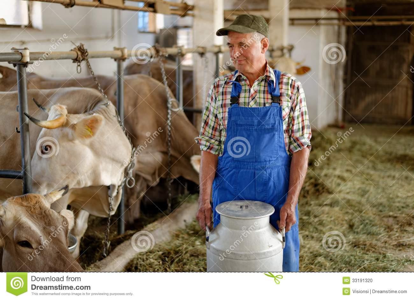 Farmer Is Working On The Organic Farm Stock Photo Image