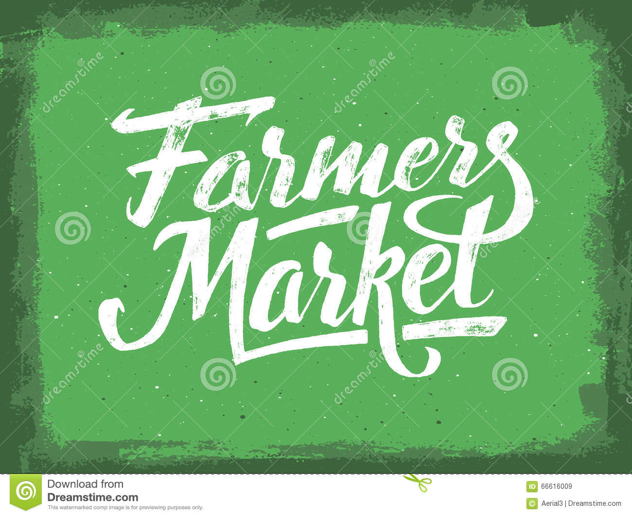 Farmers Market Hand Lettering Vintage Poster Stock Vector