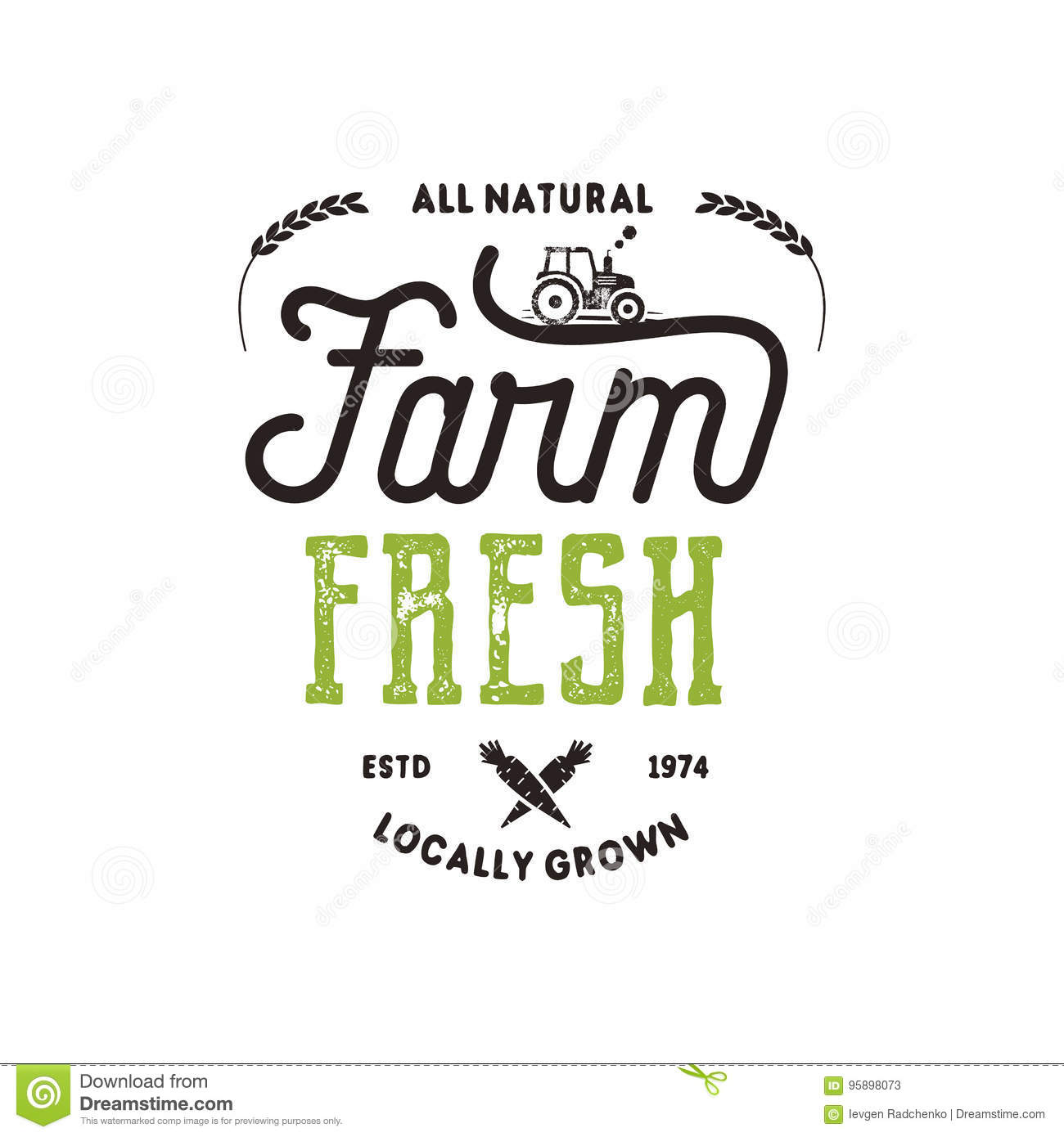 farmers market typography badge fresh and local product logo