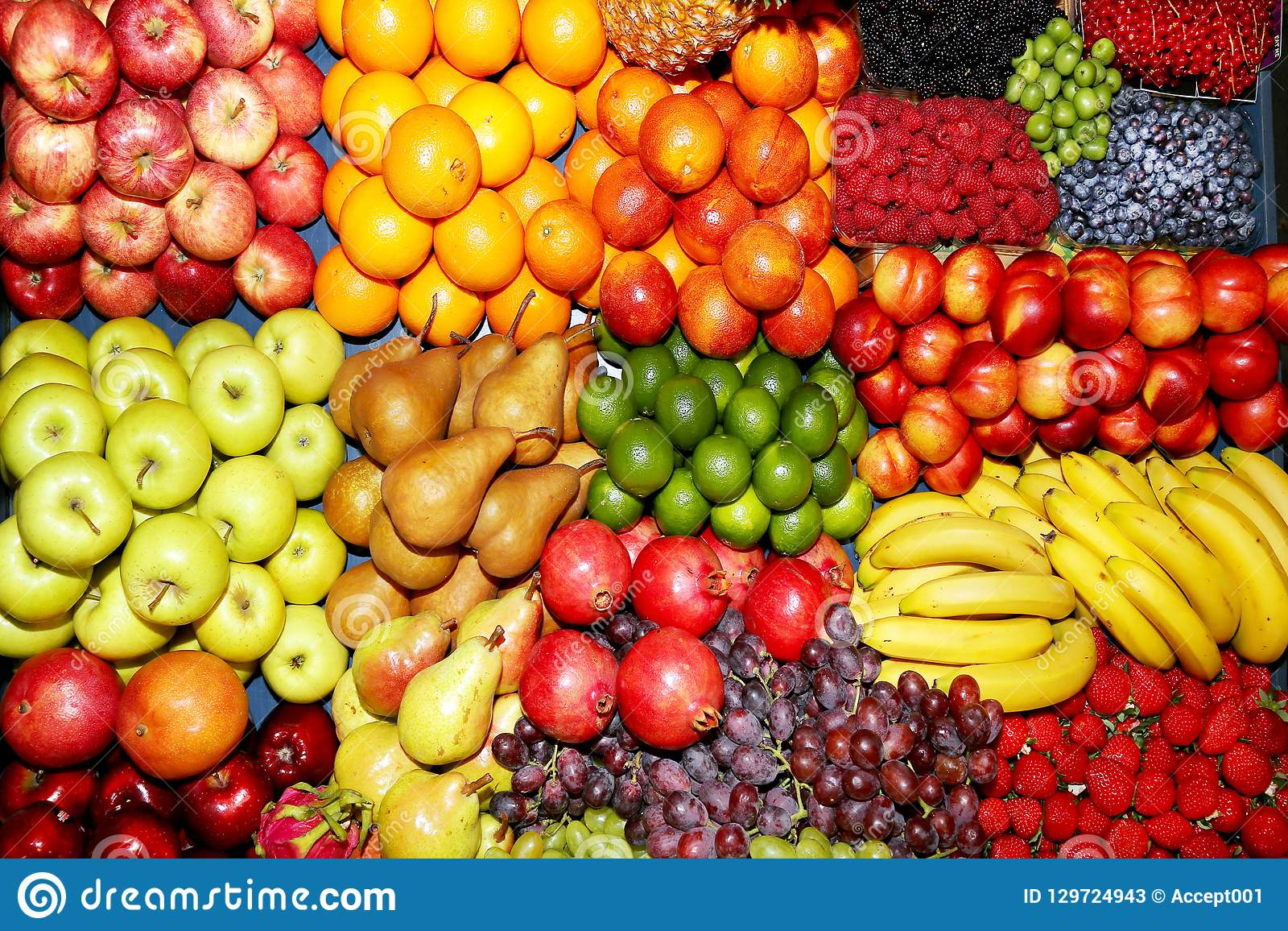 Farmers Market With Various Colorful Fresh Healthy Fruits