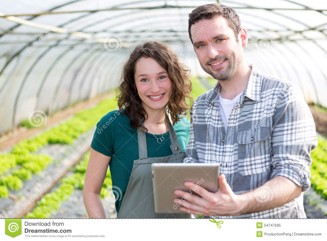 Farmers watching stats on tablet